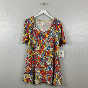 Lularoe Size L Perfect Tee Yellow Floral